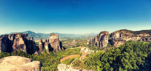 Meteora limestone rocks, Greece - Stock Photo - Images