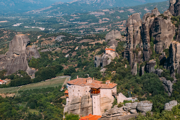 Meteora monasteries, Greece. The Monastery of Rousanou or St. Ba - Stock Photo - Images