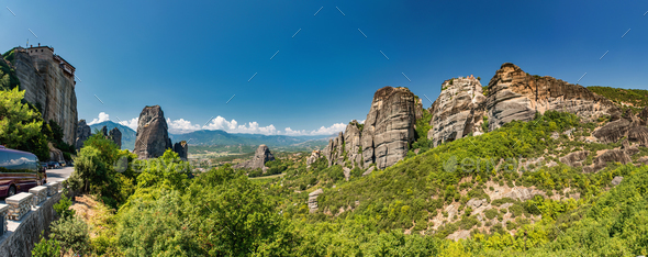 Meteora limestone rocks, Greece - Stock Photo - Images