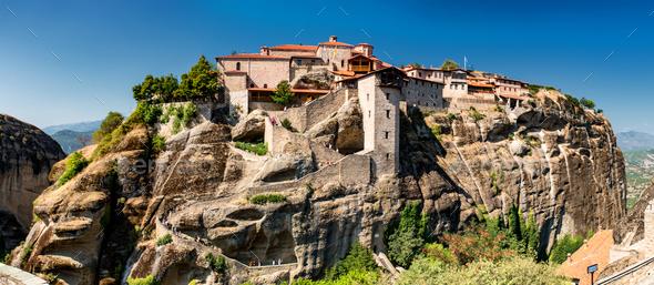 Meteora monasteries, Greece. The Monastery of Great Meteoron - Stock Photo - Images