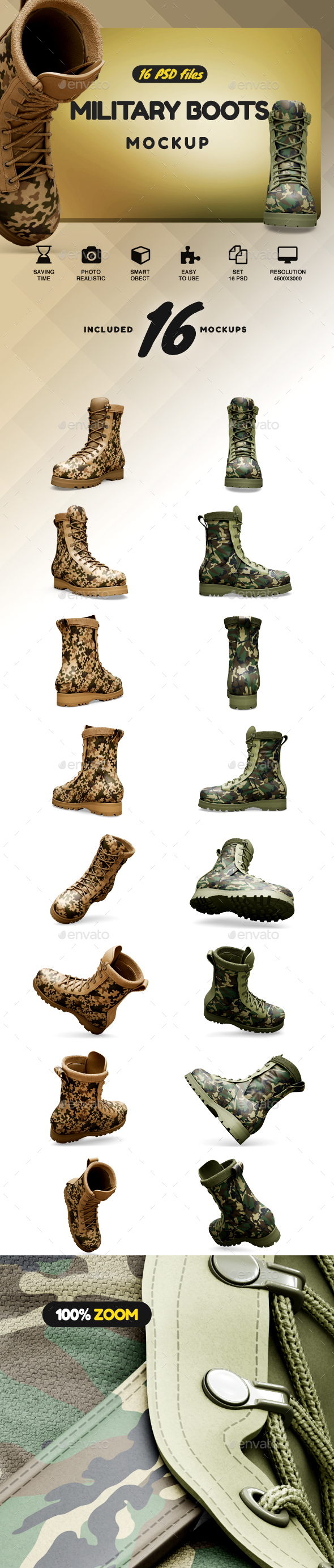Military Boots Mockup - Product Mock-Ups Graphics