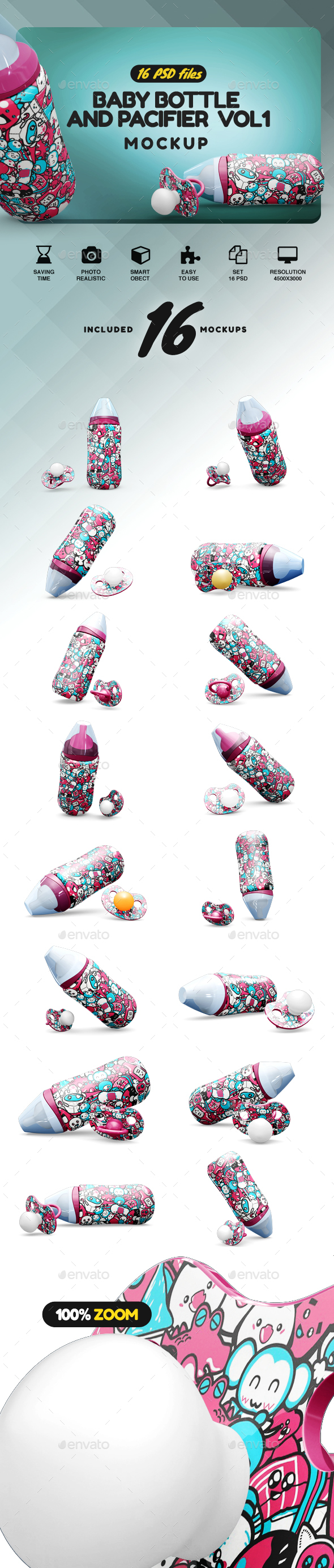 Baby Bottle and Pacifier Mockup - Product Mock-Ups Graphics