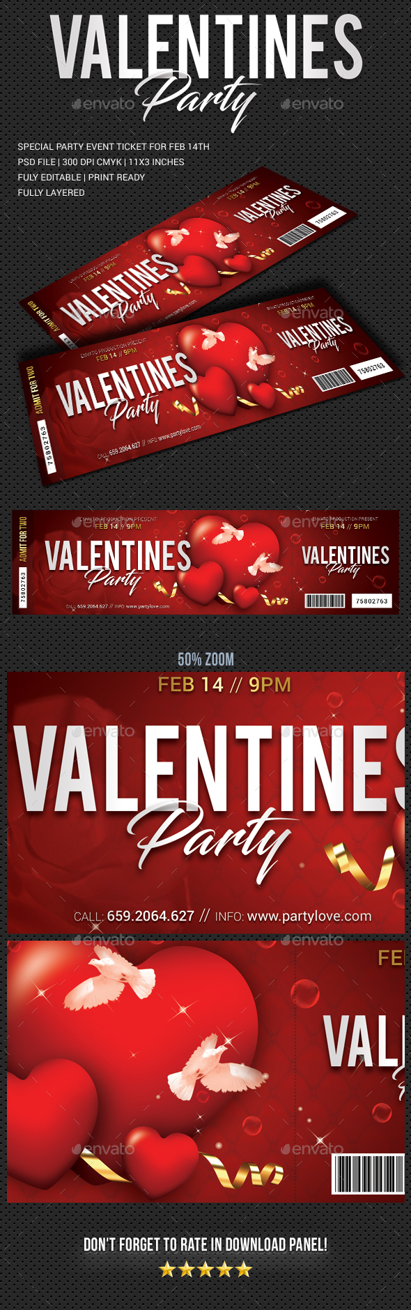 Valentines Party Event Ticket - Cards & Invites Print Templates