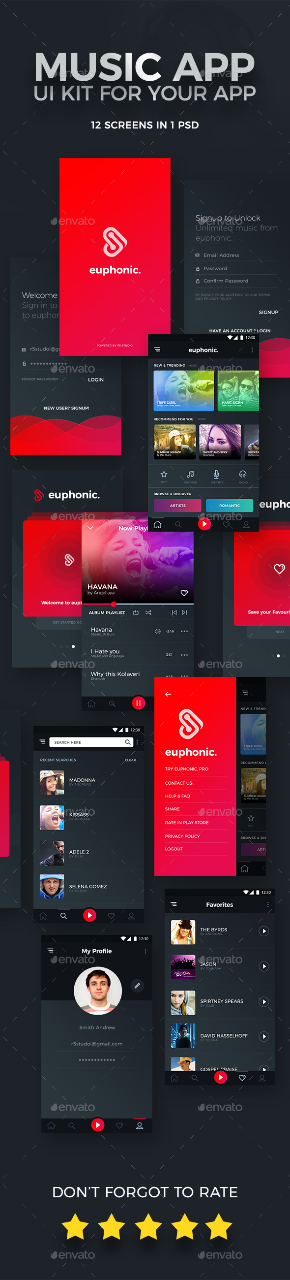 Euphonic Music App UI - User Interfaces Web Elements