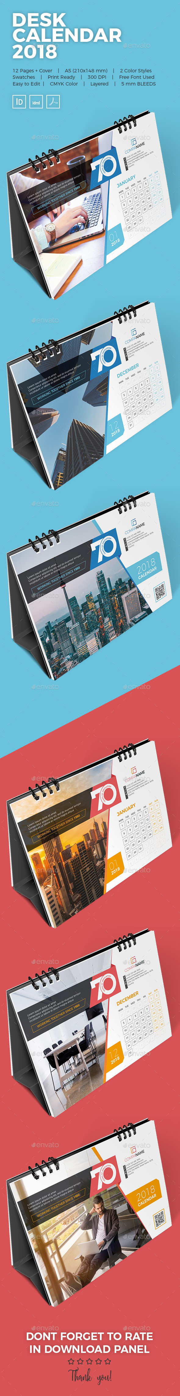 GraphicRiver Desk Calendar 2018 21185320