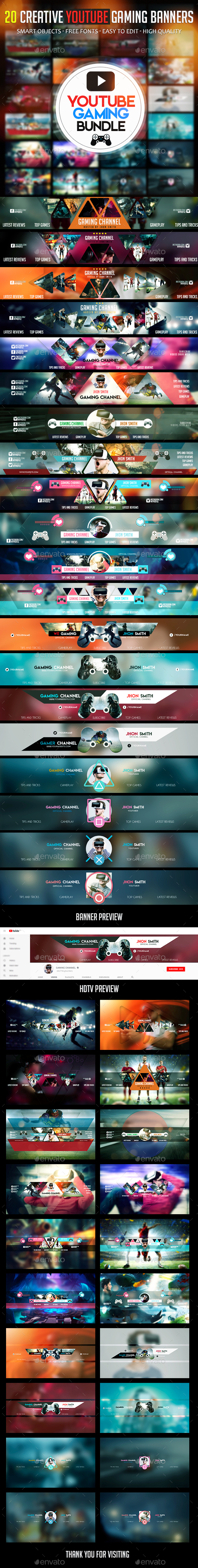 GraphicRiver Gaming Bundle 20 YouTube Gaming Banners 21165542