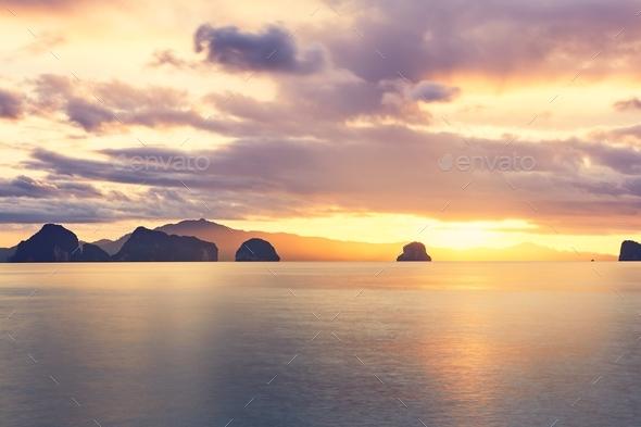 Amazing sunrise on the sea - Stock Photo - Images