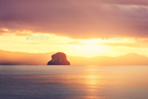 Amazing sunrise on the sea - Stock Photo - Images