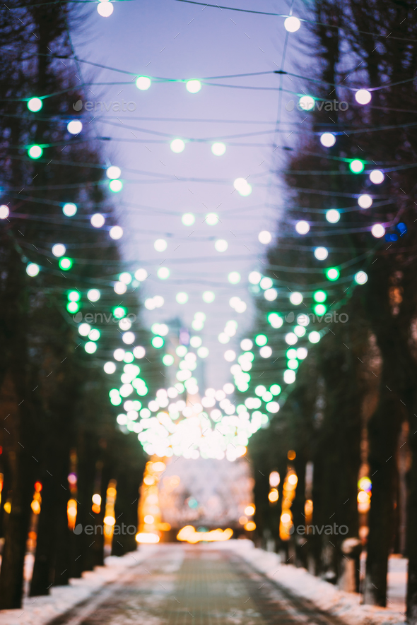Riga, Latvia. Abstract Blurred Bokeh Boke Background Of Evening - Stock Photo - Images