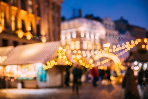 Abstract Blurred Bokeh Boke Background Of Traditional Christmas - Stock Photo - Images