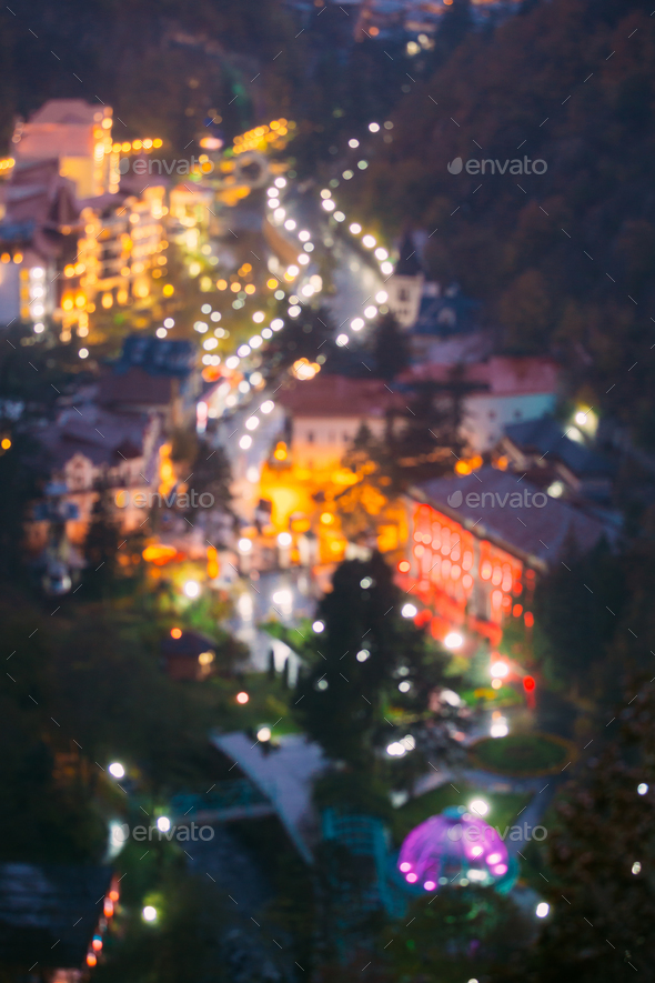 Borjomi, Samtskhe-Javakheti, Georgia.  Abstract Blurred Bokeh Bo - Stock Photo - Images