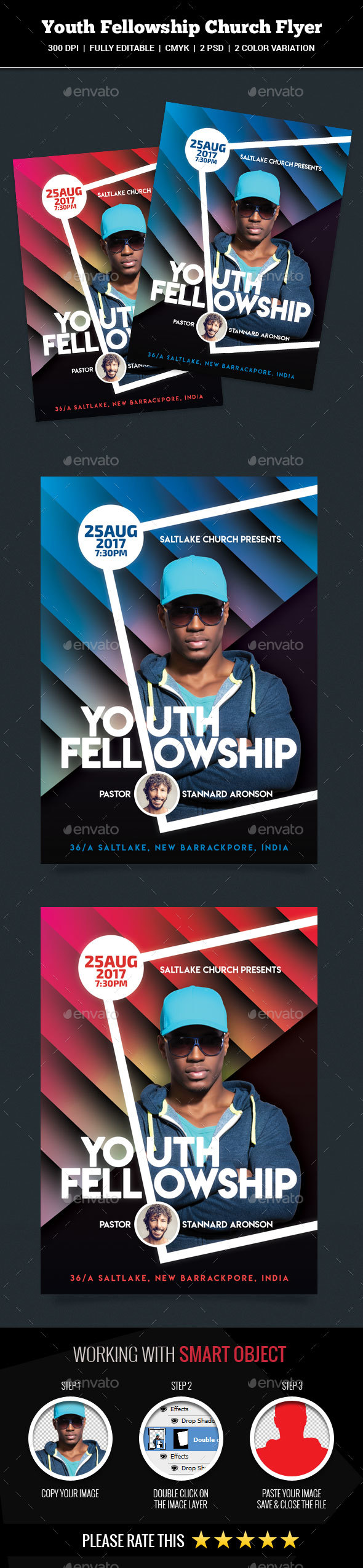 GraphicRiver Youth Fellowship Church Flyer 21185605