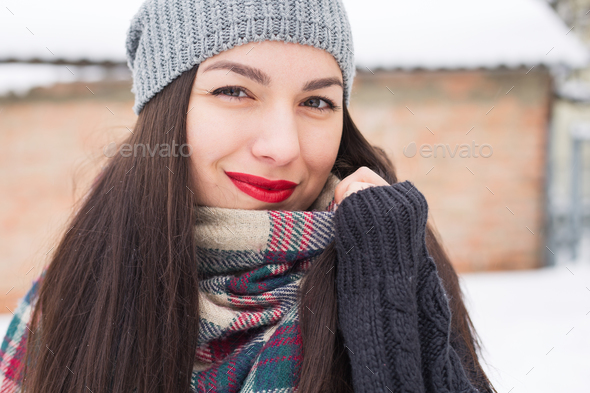 Carefree girl, laughing on a winter day. Outdoor photo of young european woman cheating - Stock Photo - Images
