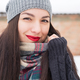 Carefree girl, laughing on a winter day. Outdoor photo of young european woman cheating - PhotoDune Item for Sale