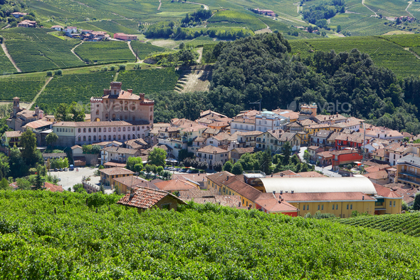 Barolo medieval town in Piedmont on Langhe hills, Italy - Stock Photo - Images