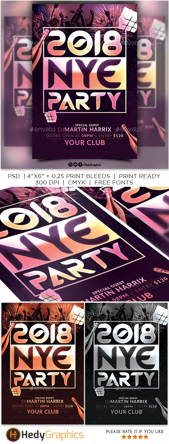 GraphicRiver 2018 Nye Party Flyer 21186064