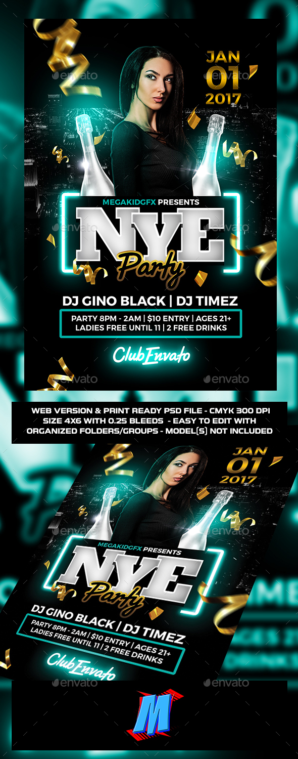GraphicRiver NYE Party Flyer Template 21186091