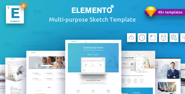 Elemento - Multi-Purpose Template for Startups - Sketch Template - Sketch Templates