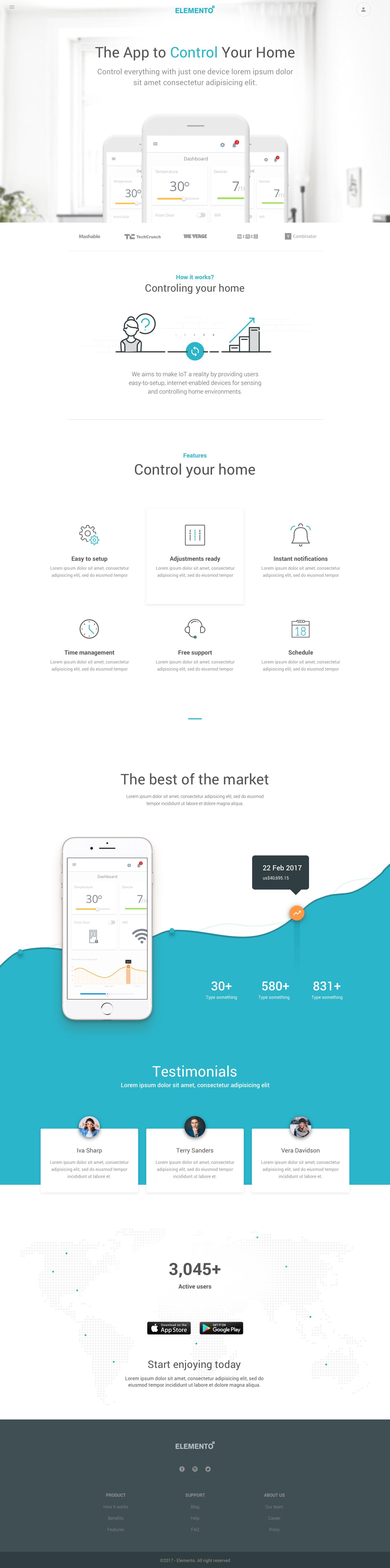 elemento - multi-purpose template for startups - sketch template, Presentation templates
