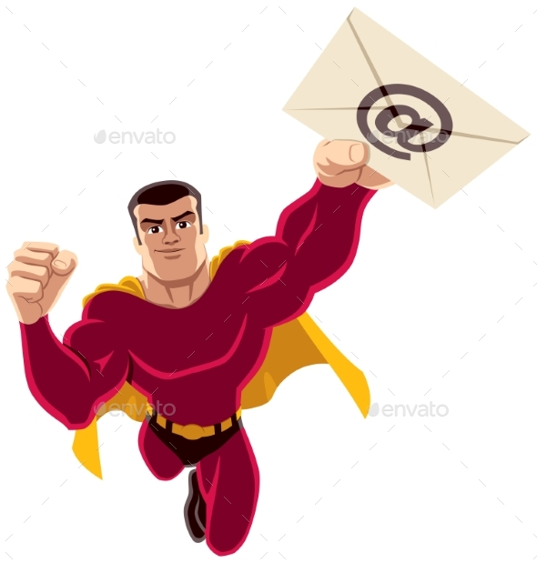 Superhero Flying E-mail - People Characters