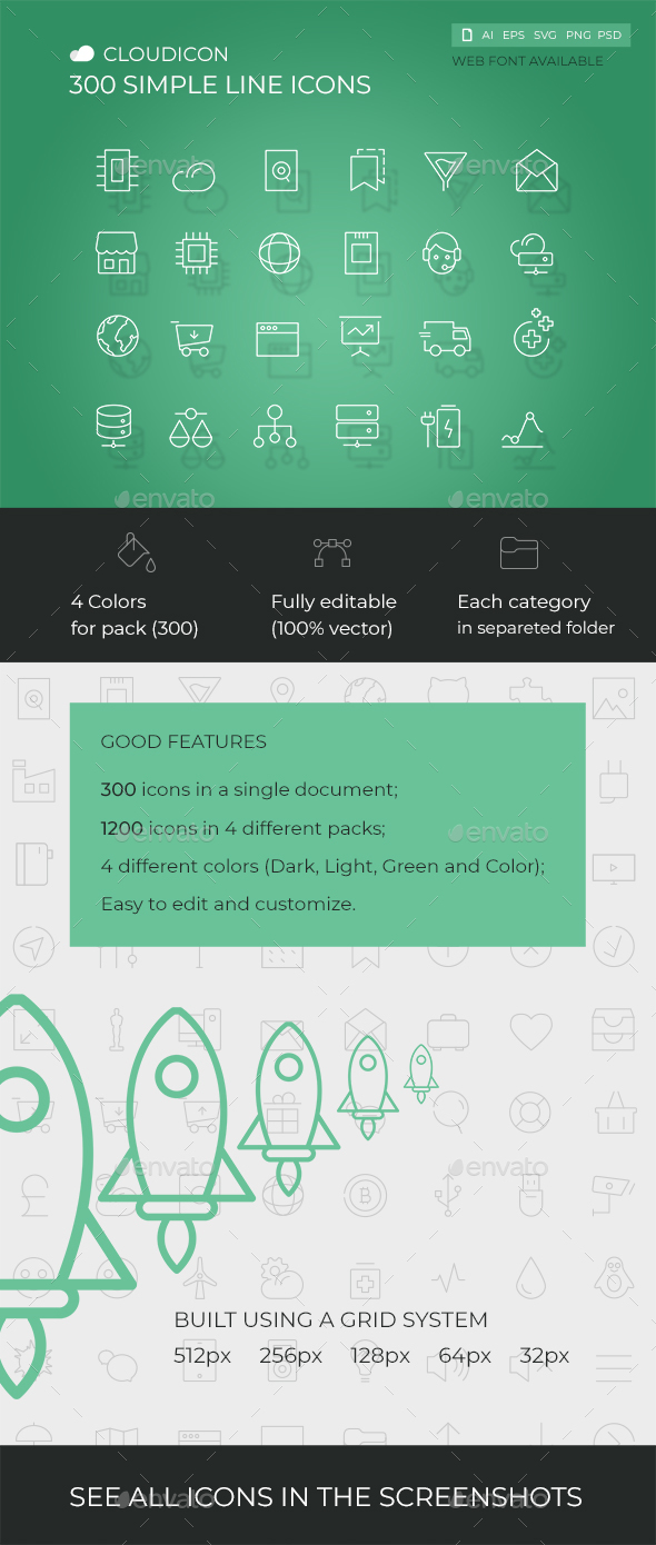 GraphicRiver Cloudicon 300 Simple Line icons 21186263