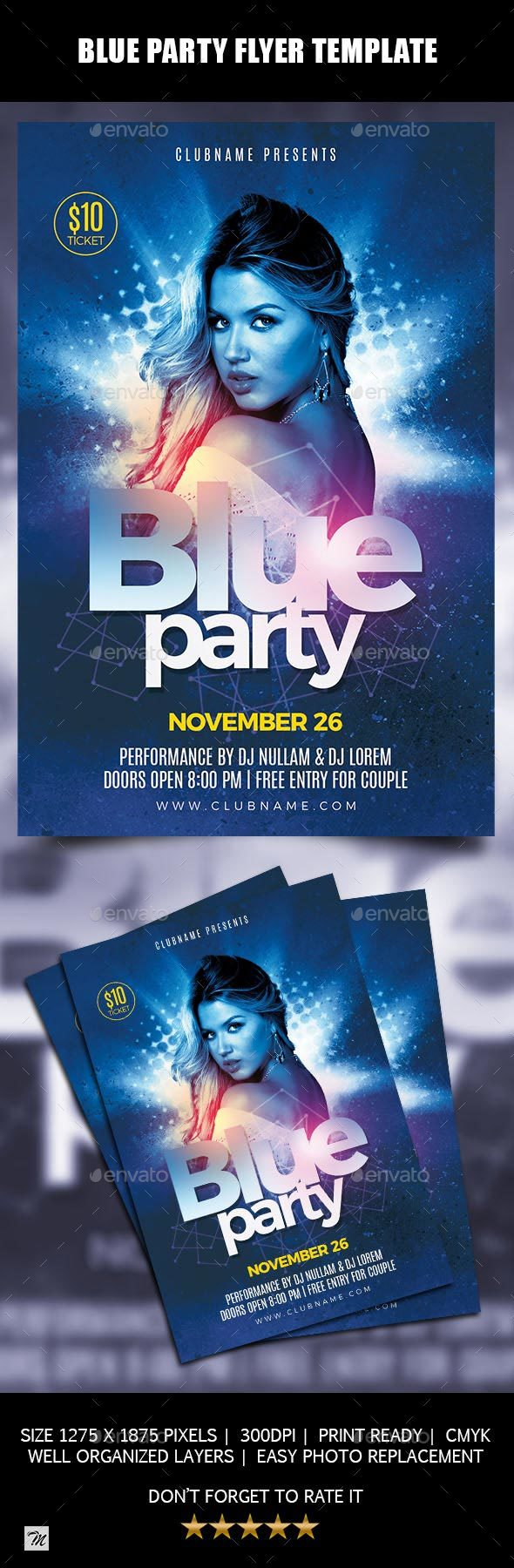 Blue Party Flyer Template - Clubs & Parties Events
