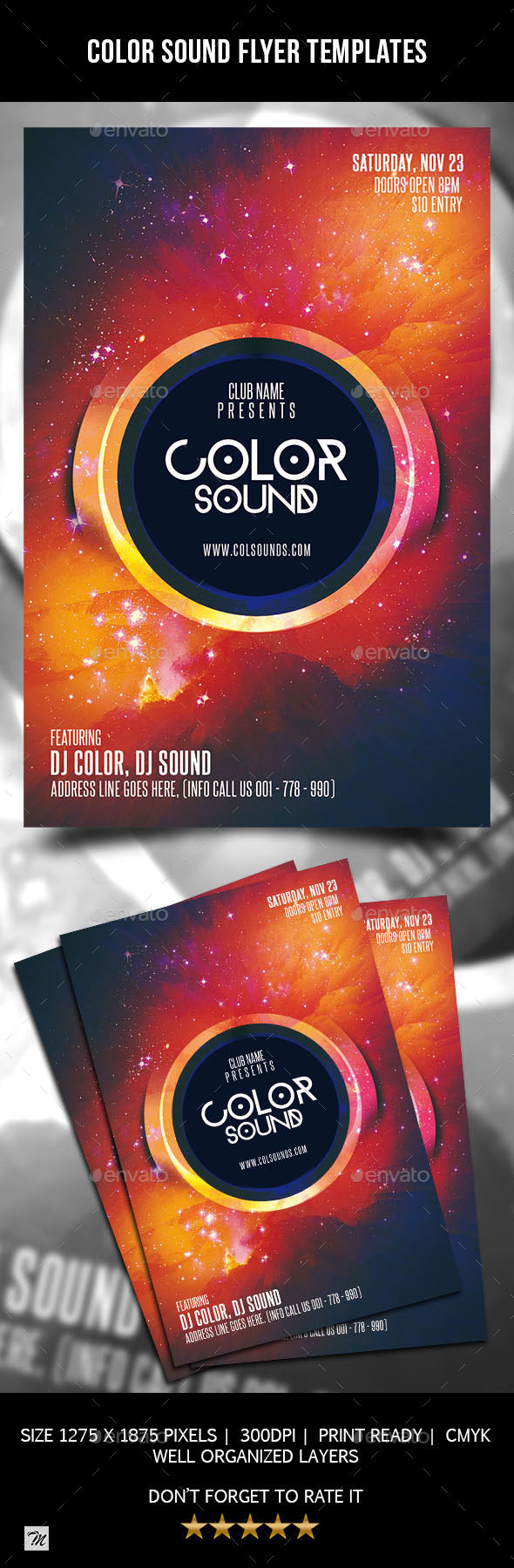 Color Sound Flyer Template - Clubs & Parties Events