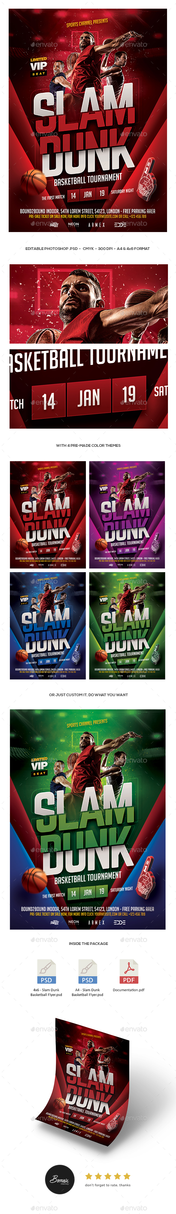 GraphicRiver Slam Dunk Basketball Flyer 21186329