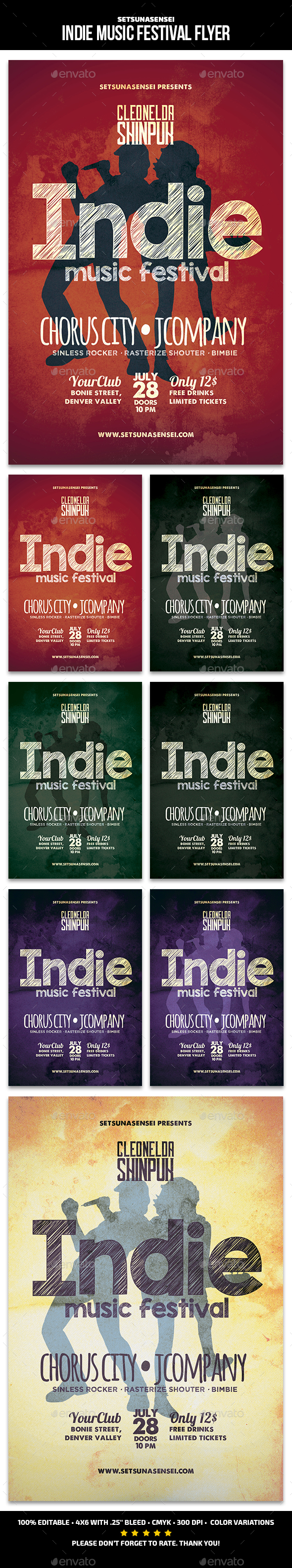 GraphicRiver Indie Music Festival Flyer 21186337