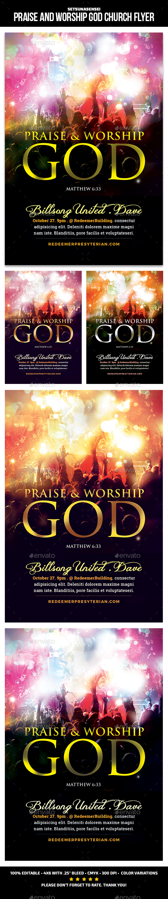 GraphicRiver Praise and Worship God Church Flyer 21186430