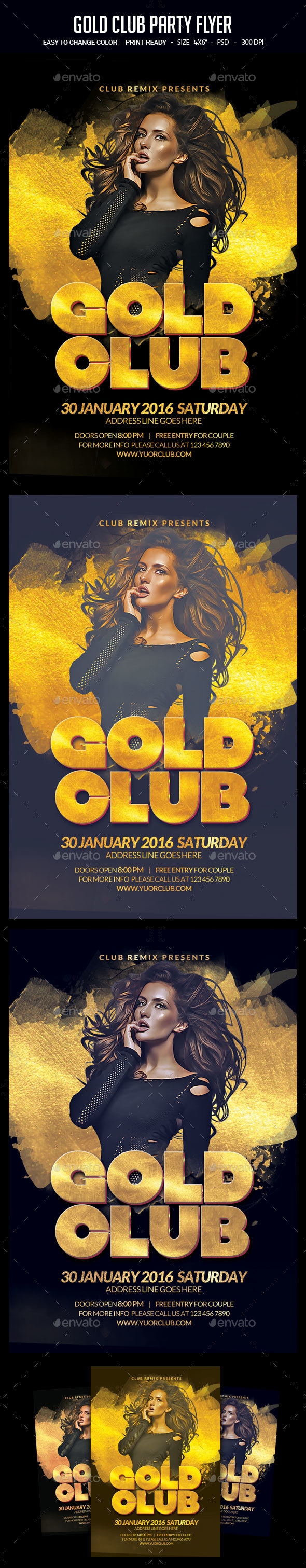 Gold Club Party Flyer - Clubs & Parties Events