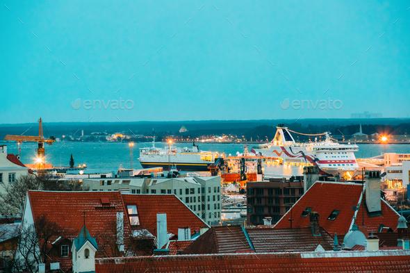 Tallinn, Estonia. Modern Ferry Ferryboat At Pier Awaiting Loadin - Stock Photo - Images