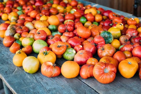 Colorful Organic Tomatoes On Local Farmers Grocery Market - Stock Photo - Images