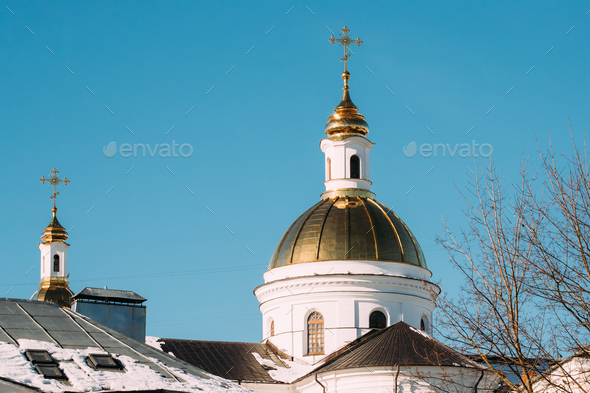 Vitebsk, Belarus. The Dome Of The Holy Assumption Cathedral On B - Stock Photo - Images