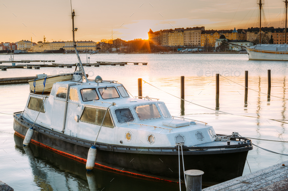 Helsinki, Finland. Marine Boat, Powerboat Moored At Berth In Sun - Stock Photo - Images