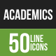 50 Academics Green & Balck Line Icons