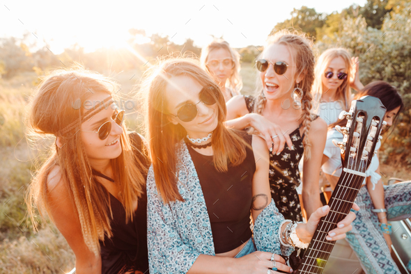 Six girls have fun in the countryside - Stock Photo - Images