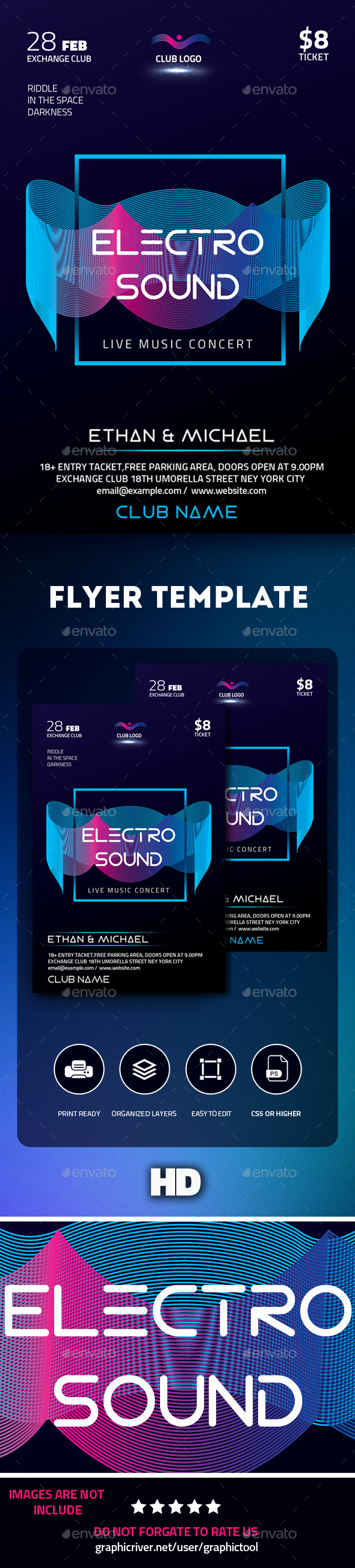 GraphicRiver Electro Sound Flyer 21186806