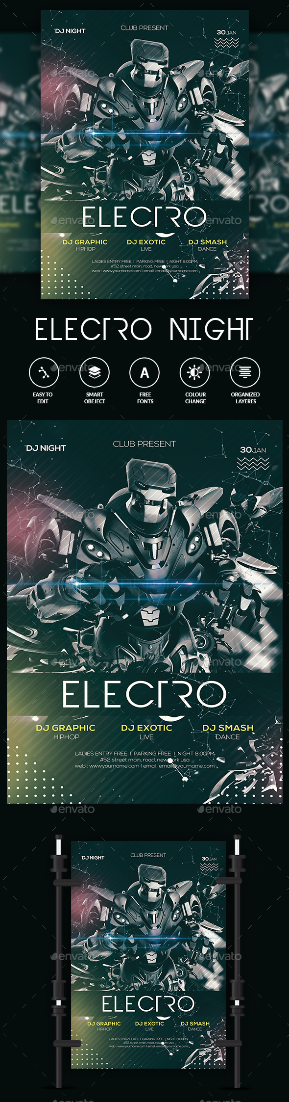 GraphicRiver Electro Night Flyer 21186808