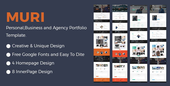 MURI- Multipurpose Business Agency and Personal Portfolio Template - Creative PSD Templates