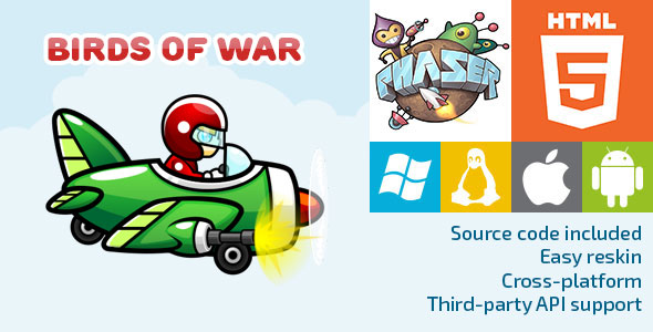 Birds of War - HTML5 Game - Phaser - CodeCanyon Item for Sale