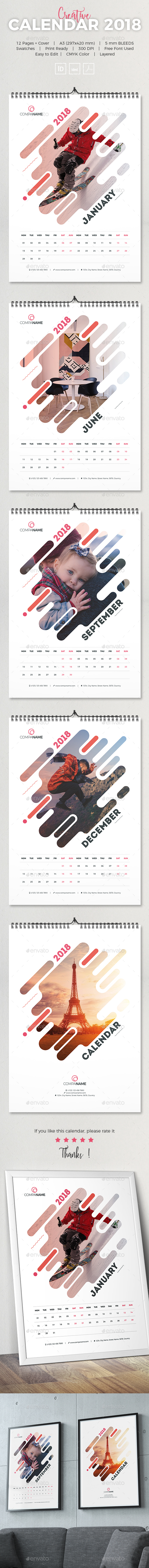 GraphicRiver Creative Calendar 2018 21187371