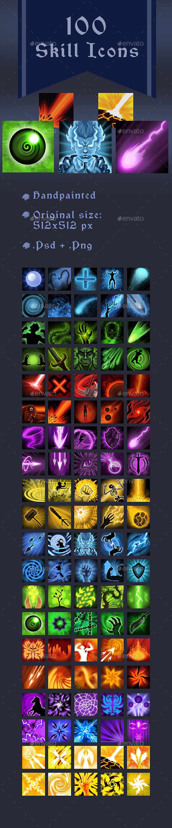 100 Skill Icons 2 - Miscellaneous Game Assets