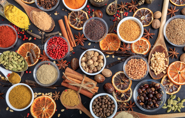 Composition of spices on a black background - Stock Photo - Images