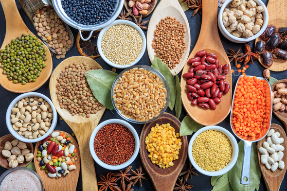 Composition of various kinds of legumes - Stock Photo - Images