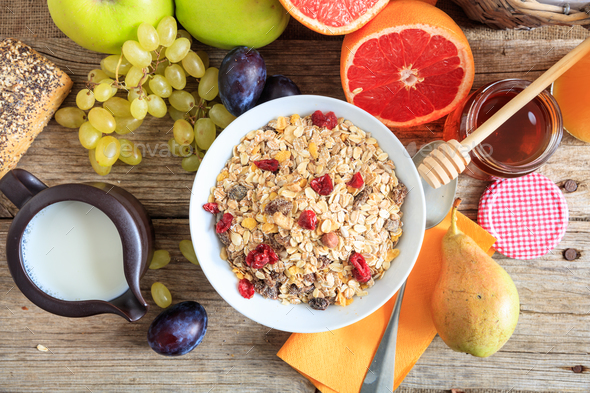 Fresh fruits and cereal bowl - Stock Photo - Images