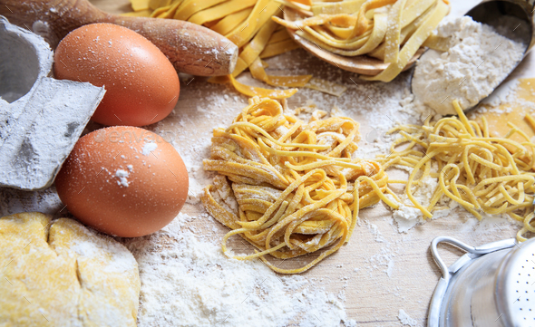 Fresh tagliatelle pasta homemade preparation - Stock Photo - Images