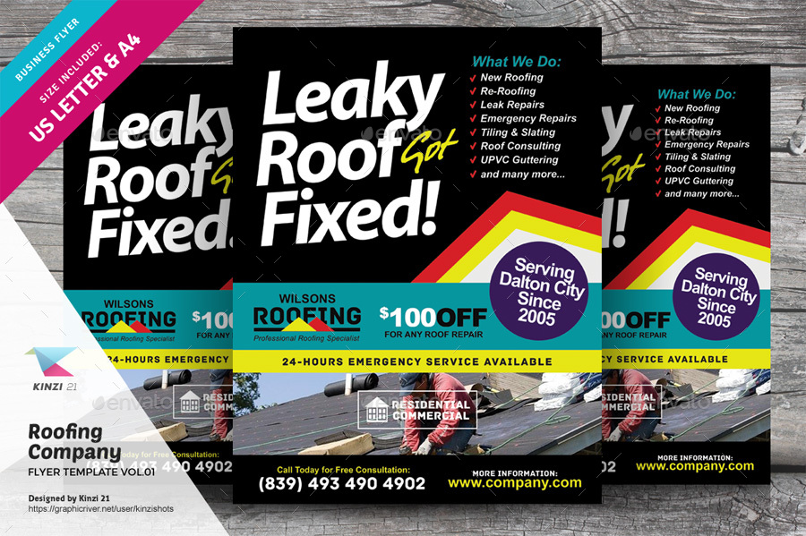 Roofing Company Flyer Template Vol 01 By Kinzishots