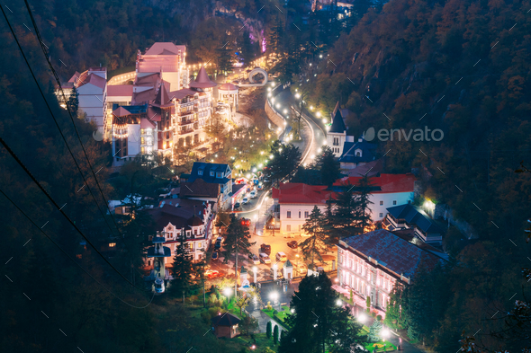 Borjomi, Samtskhe-Javakheti, Georgia. Aerial View Borjomi Citysc - Stock Photo - Images