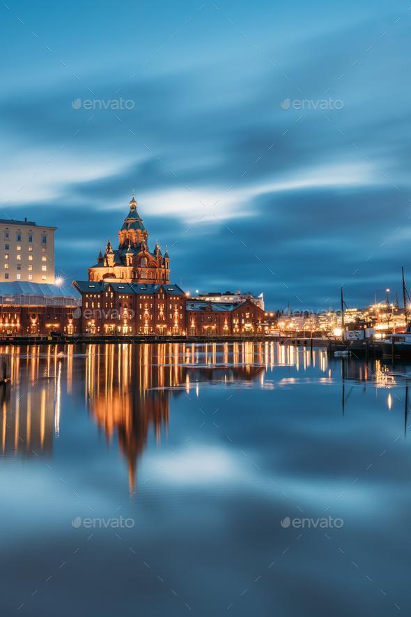 Helsinki, Finland. View Of Kanavaranta Street With Uspenski Cath - Stock Photo - Images